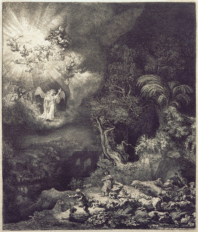 Rembrandt The Angel Appearing to the Shepherds, 1634